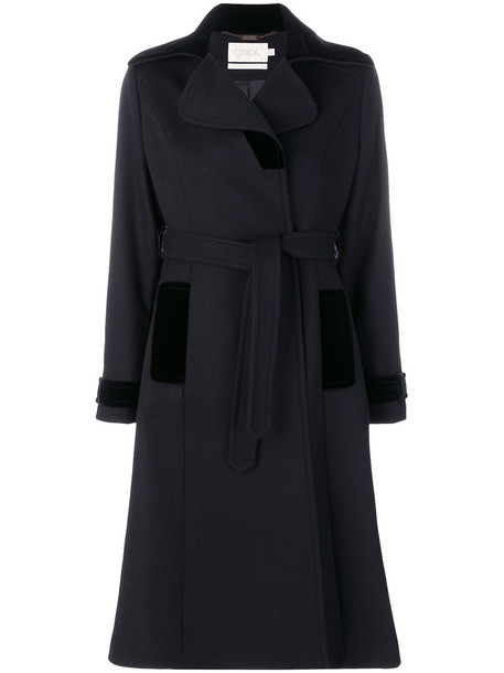 coat women cotton black wool