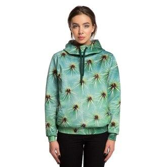 sweater hooded sweater hoodie green hoodie printed hoodie printed hooded sweater floral cactus print cactus cactus hoodie cactus print hoodie