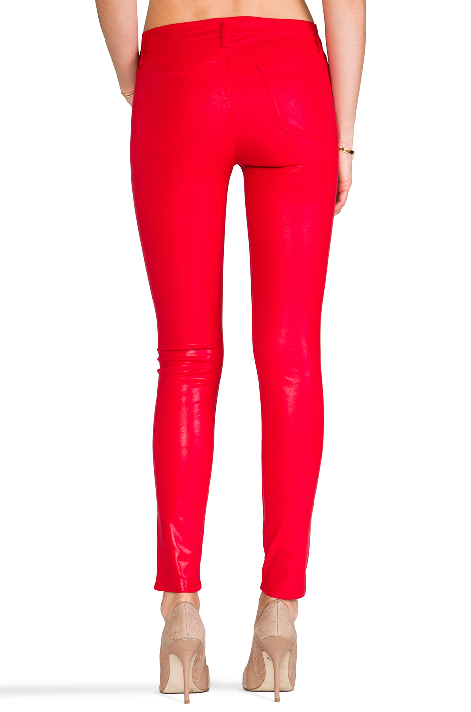 J Brand Midrise Legging in Coated Adra Red | REVOLVE