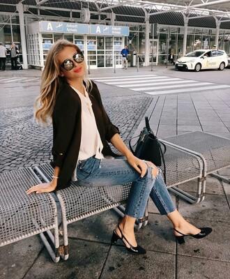 jacket nude shirt tumblr black blazer blazer shirt denim jeans blue jeans ripped jeans slingbacks chanel slingbacks chanel chanel shoes sunglasses mirrored sunglasses