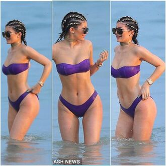 swimwear purple kylie jenner white black
