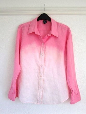 shirt pink ombre long sleeves light pastel color/pattern girly girl cute pretty nice fall outfits outfit trendy ombre shirt