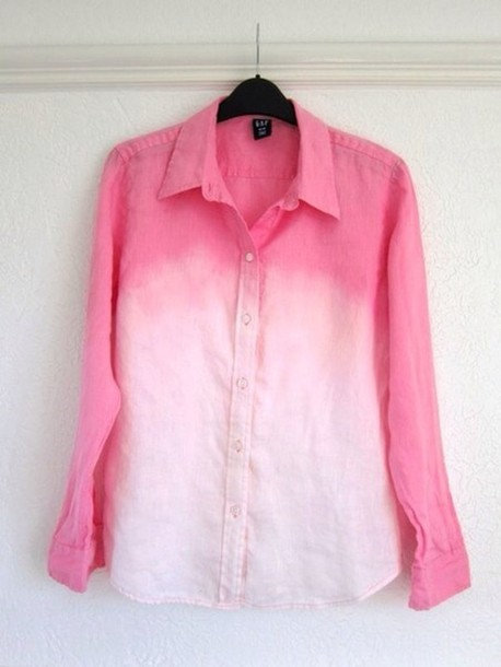 Shirt pink ombre long sleeves light pastel color for How to bleach dye a shirt