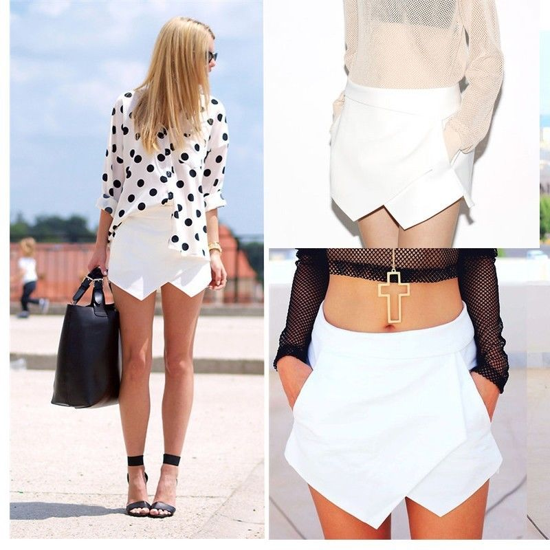 Hot Women Skorts Asymmetric Tiered Culottes Shorts with Invisible Zipper O | eBay
