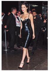 dress,black dress,met gala,bella hadid,pumps,bodycon dress,edgy,sexy dress,sexy,midi dress,bustier dress,leather dress,strappy heels,black heels
