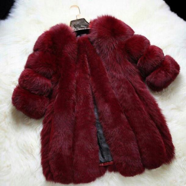 jacket fur jacket alternative faux fur jacket fur coat fur burgundy burgundy sweater coat burgundy coat nice cute soft