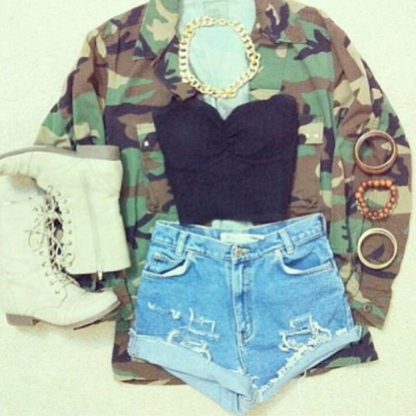 shorts blouse jacket shoes