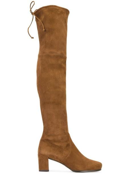 STUART WEITZMAN women boots leather suede brown satin shoes