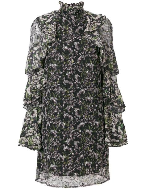 dress women floral print black silk