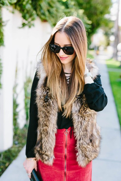 jacket tumblr faux fur vest fur vest beige fur jacket top lace up top black top skirt red skirt zipped skirt zip sunglasses black sunglasses