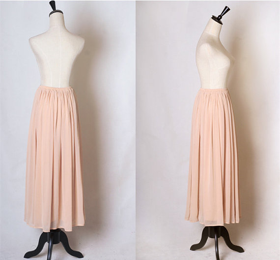 pink skirt chiffon skirt long skirt maxi by vivianfabric