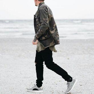 jacket maniere de voir camouflage ripped pockets sergio 36683 menswear mens jacket army green jacket