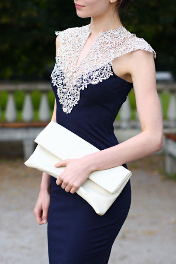 Navy White Lace Dress
