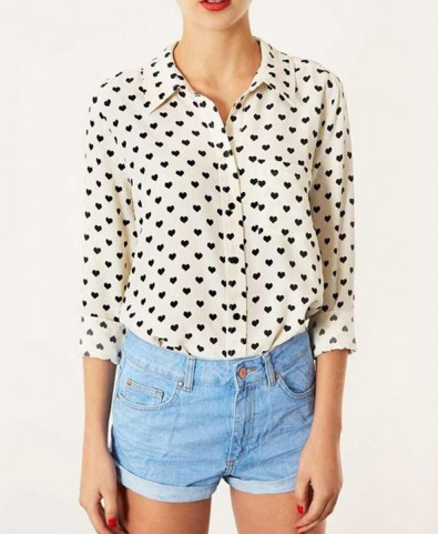 Heart Print Button Down - Blouses - Clothing
