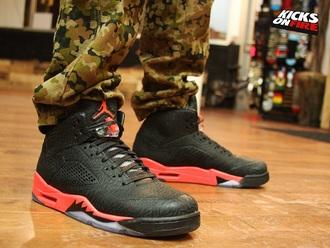 shoes jordan jordans air jordan air jordan's nike nike air 5s 3lab5 23 infrared red trainers sneakers kicks style fashion camouflage retro swag heat