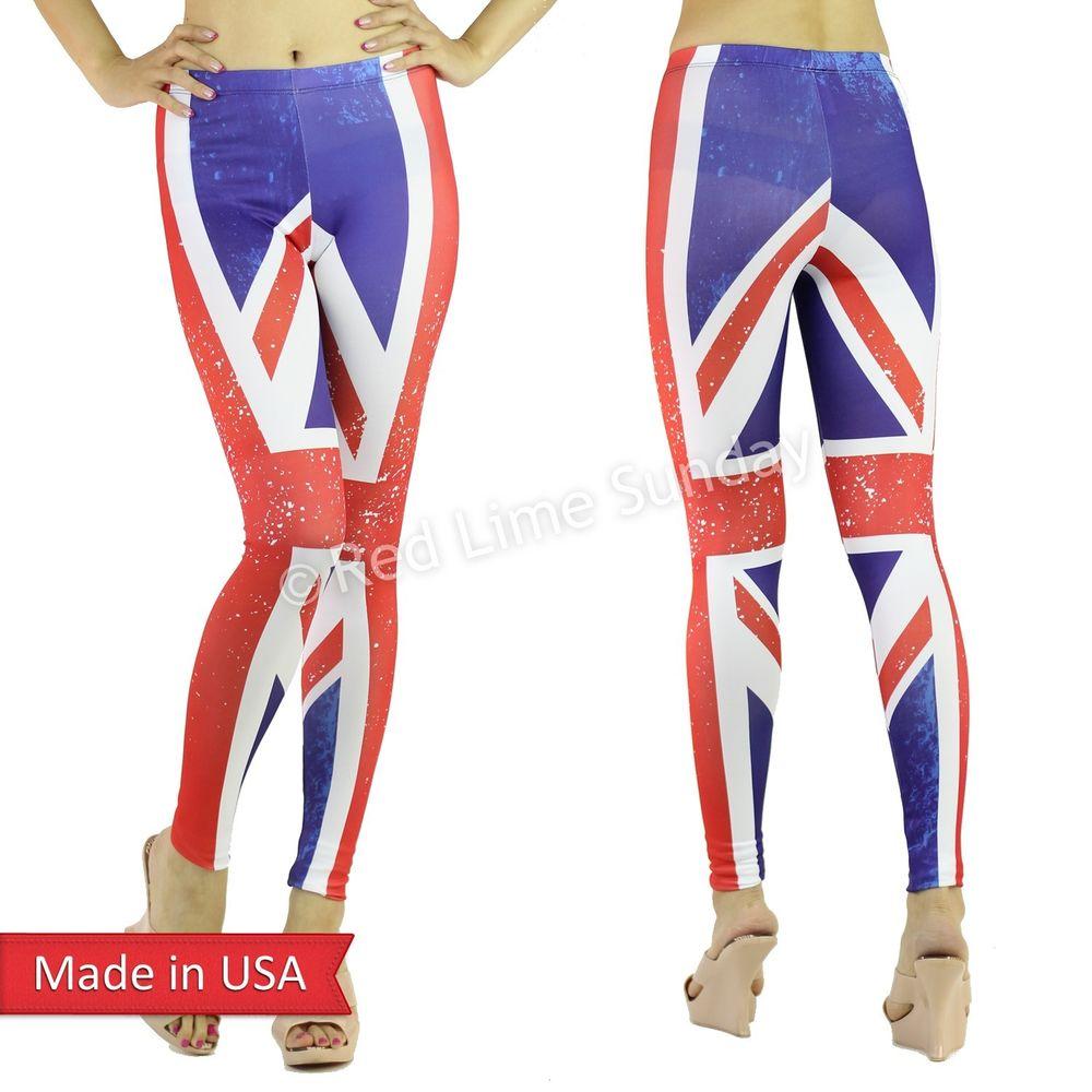 New Weathered Union Jack UK British Flag Pattern Print Leggings Tights Pants USA