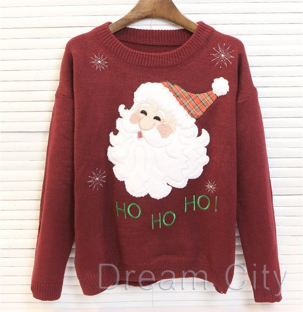 New 2014 autumn winter women christmas sweater tops o neck long sleeve knitted sweaters cute character ladies pullovers