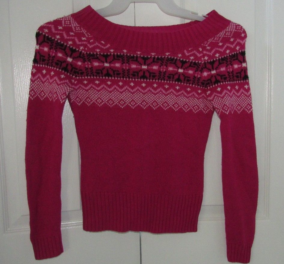 Womens Juniors OP Ocean Pacific Pink Pattern Knit Sweater Size XS 1 FREE SHIPPIN