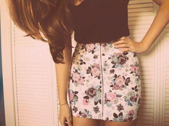 floral skirt floral zipper whit