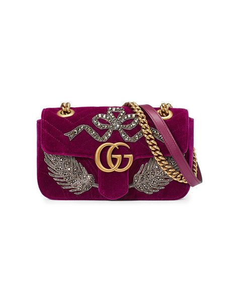 gucci mini metal embroidered women bag mini bag silk velvet red