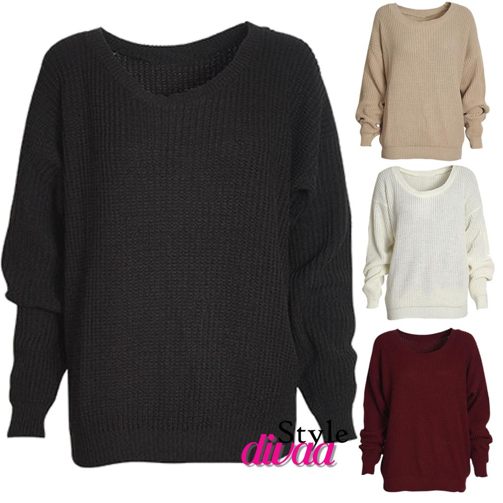 LADIES OVERSIZED JUMPER KNITTED WOMENS SWEATER CHUNKY KNIT TOP ...