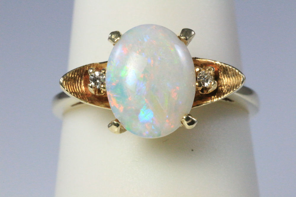 Estate Vintage Opal Diamond 14k Yellow Gold Ring Sz 5 5 | eBay