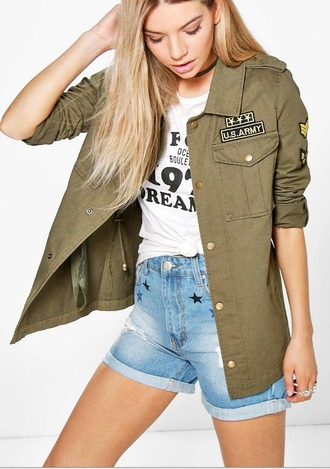 jacket army green jacket cotton jacket military style