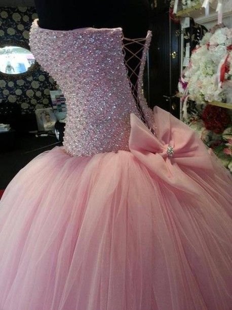 Dress: prom dress, pink dress, princess dress, ball gown ...