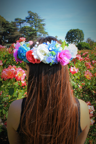hair accessory flower crown flower wreath pink flower crown blue flower crown flowers pretty cute floral floral headband flower headband floral hair accessory