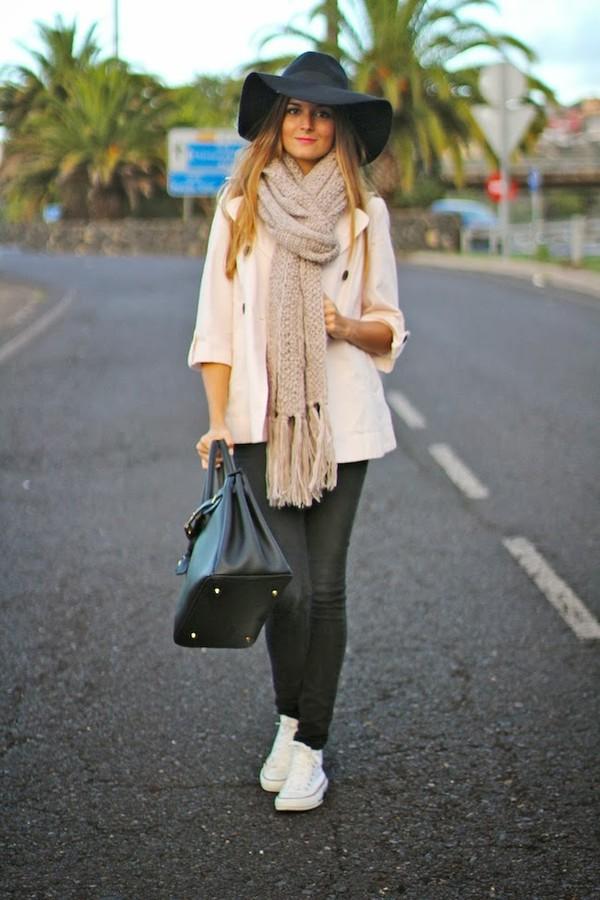 marilyn's closet blog t-shirt jeans hat scarf shoes coat bag jewels