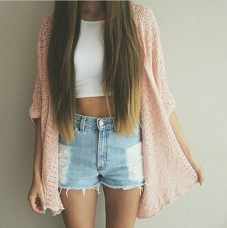 cardigan jeans denim ripped shorts high shorts pink cardigan spring outfit summer outfits spring long hair white tank top white crop top straight hair white singlet