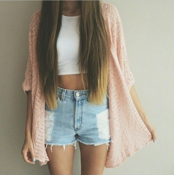 long hair spring white singlet cardigan denim white crop top white tank top straight hair jeans ripped shorts high shorts pink cardigan spring outfit summer outfits