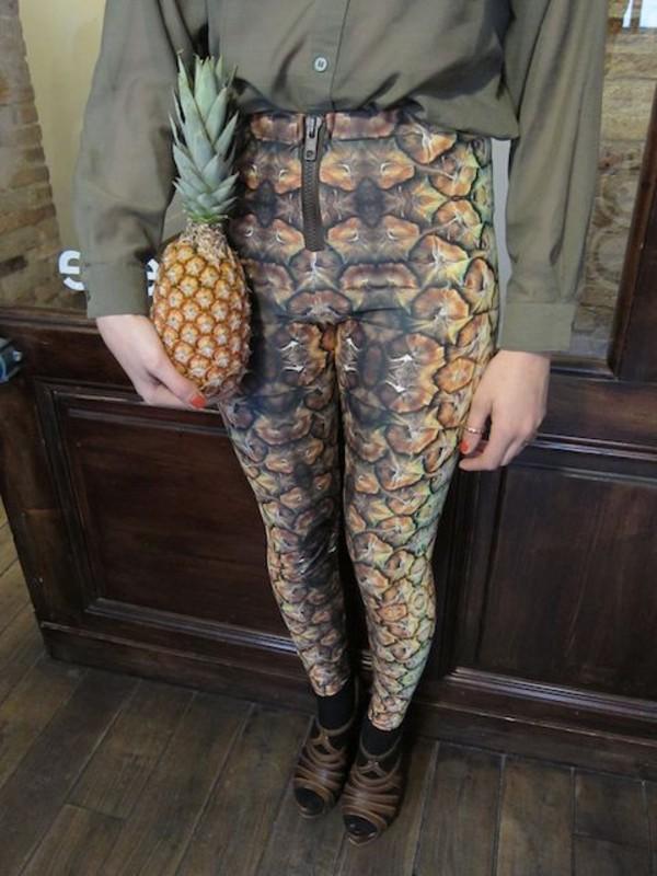 pineapple leggings high waisted zip pants pineapple print