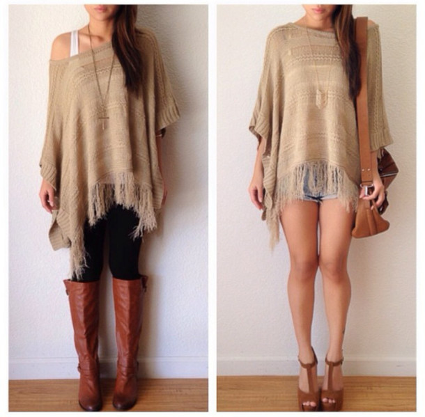 Sweater: oversized sweater, brown, summer outfits, shoes, boots ...