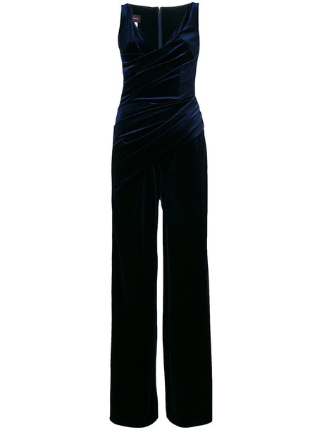 Talbot Runhof jumpsuit sleeveless women spandex blue