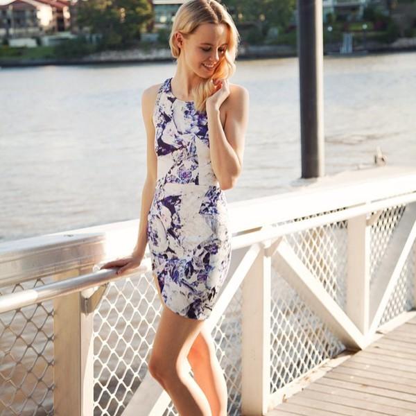 dress white purple racerback cut-out wave hem cute floral party asymmetrical shopfashionavenue