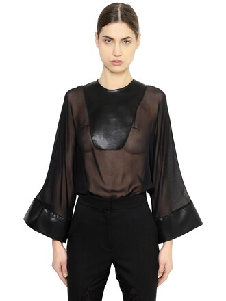 top chiffon leather silk black