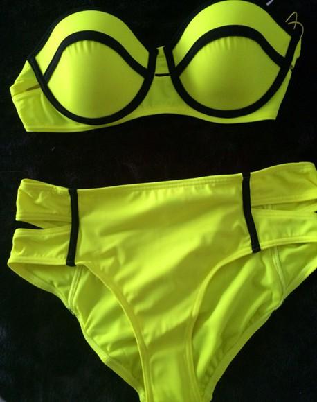 swimwear bikini yellow swimwear yellow bikini yellow neon yellow neon