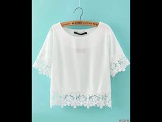 shirt white crop tops flowers