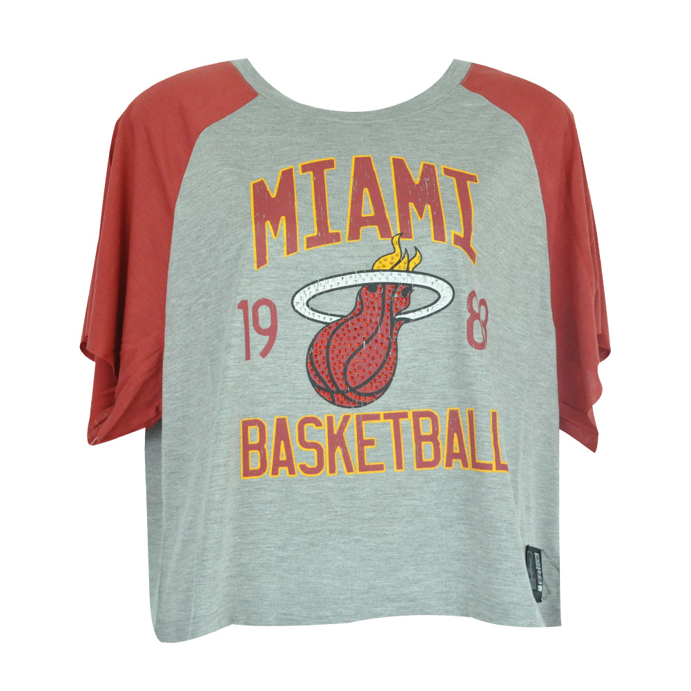NBA UNK Miami Heat Rhinestone Women Ladies Flowy Loose Distressed Top Shirt | eBay