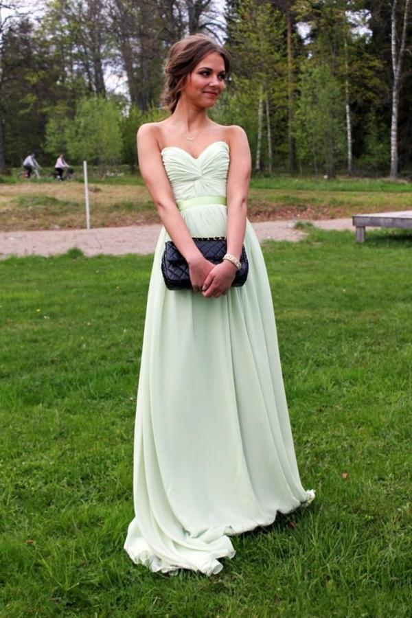 Discount Pretty Apple Green Chiffon Evening Dresses Sexy Pleats Sweetheart Sleeveless Backless Prom Gowns Floor Length Cheap Bridesmaid Dress Online with $86.92/Piece   DHgate