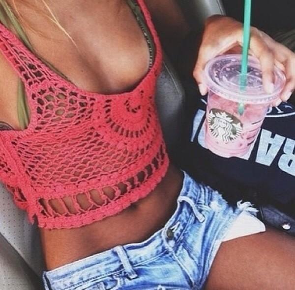 tank top crochet crochet crop top red cute summer top crop tops shorts