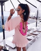 dress,milenalesecret,pink,rose,boho dress,tunic,fransen,gold