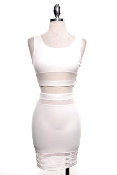 2 Piece Pencil Skirt and Crop Top Mesh Lines Set White or Black | eBay