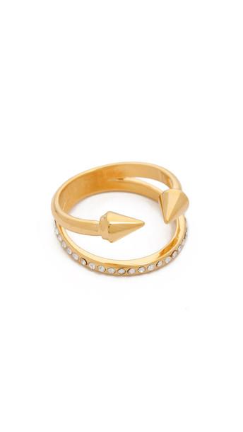 Vita Fede Ultra Mini Titan Crystal Band Ring - Gold/Clear