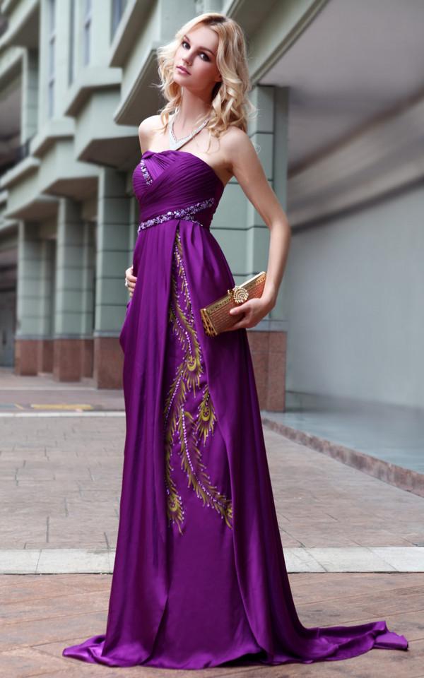 Off Shoulder Bridesmaid Dress in Bright Purple Tone (30568) | Bridal ...