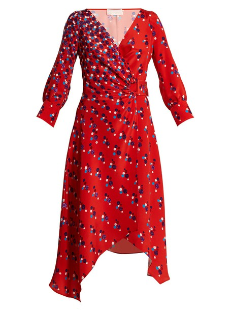 Peter Pilotto dress wrap dress print silk red