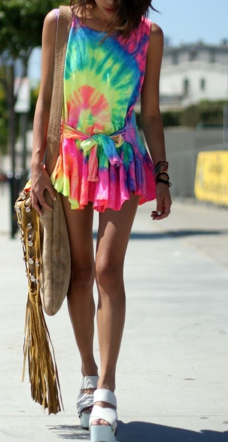 The best! sexy! trendy!tie colorful dye summer dress tunic 6 8 10 12 xs s m l