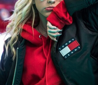 shirt sweater sweatshirt red t-shirt crop tops jacket coat cardigan red dress grey sweater grey t-shirt tumblr shirt shirtdress sweater weather long sleeve crop top bomber jacket black bomber jacket black and white