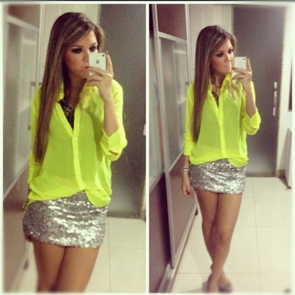 sequins blouse neon skirt